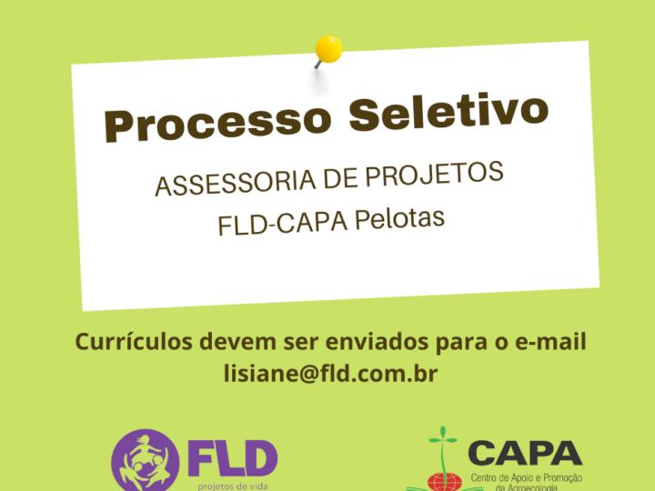 A Fundação Luterana de Diaconia – Centro de Apoio e Promoção da Agroecologia, FLD – CAPA Pelotas seleciona assessoria de projetos